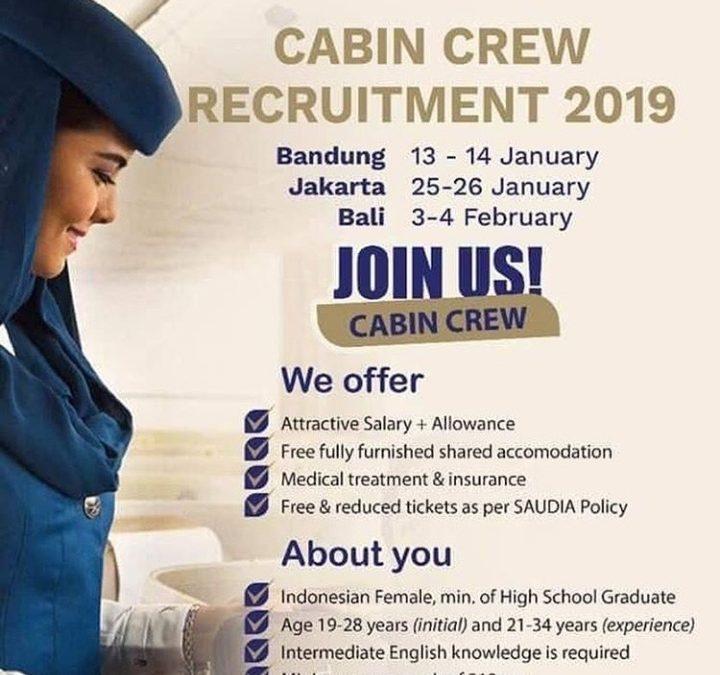 Penerimaan Cabin Crew – Pramugari Saudi Airlines