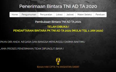 Penerimaan Bintara TNI AD TA 2021 Sudah Dibuka