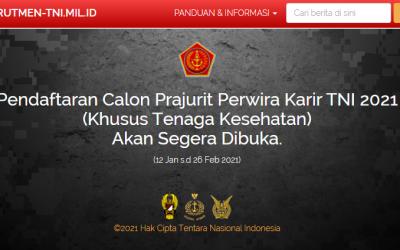 Pendaftaran Calon Perwira Prajurit Karir (Khusus Tenaga Kesehatan)
