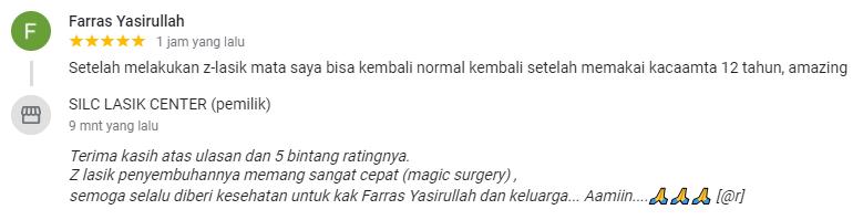 Farras Yasirullah : z-lasik mata saya bisa kembali normal kembali setelah memakai kacaamta 12 tahun