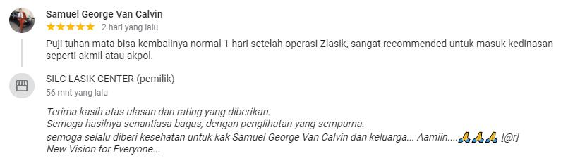 Samuel George Van Calvin : Mata bisa kembalinya normal 1 hari setelah operasi Zlasik