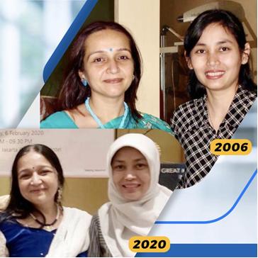 dr. Sophia Pujiastuti SpM(K), MM saat kursus intensif dengan dokter Rupal Shah di New Vision Laser Center di Vadodara, India tahun 2006, dan saat menghadiri Seminar Bedah Refraktif yang diselenggarakan oleh Zeiss di Jakarta tahun 2020.