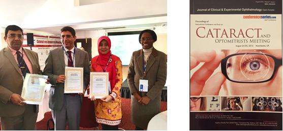 dr. Sophia Pujiastuti,SpM(K), MM saat presentasi di Manchester, Inggris tahun 2016 dan presentasinya masuk dalam Journal of Clinical & Experimental Opthalmology